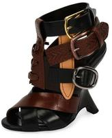 Tom Ford Multi-Strap 110mm Wedge Sandal, Black/Brown
