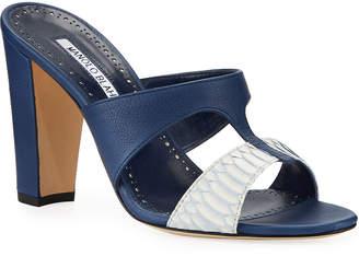 Manolo Blahnik Medjul Snakeskin Slide Sandals