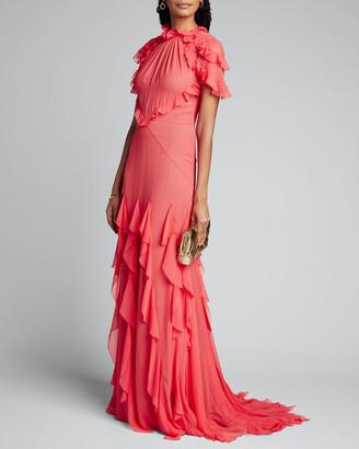 Jason Wu Collection Ruffle-Trim Crinkle Chiffon Gown