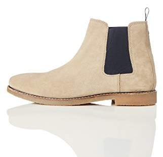 find. Men's Suede Chelsea Boots, Brown (Stone)