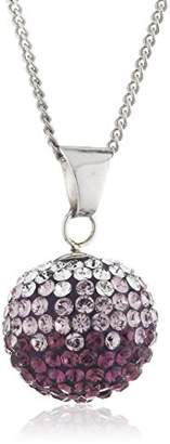 Crystelle Women's Pendant with Chain and Ball 925 Sterling Silver White Swarovski Crystal 45 cm 500244408-45R