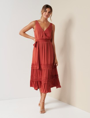 Forever New Madeline Tiered Ruffle Dress - Orange Rust - 8