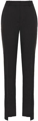 Victoria Beckham Paneled Wool And Mohair-blend And Satin Slim-leg Pants