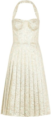 Dolce & Gabbana Jacquard Pleated Bustier Dress