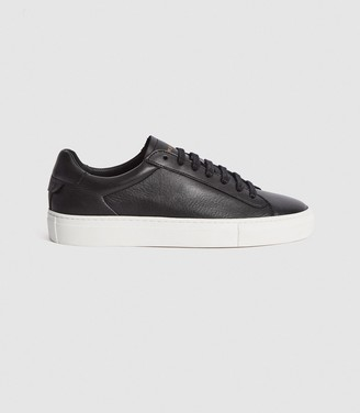 Reiss FINLEY LEATHER CONTRAST SOLE TRAINERS Black