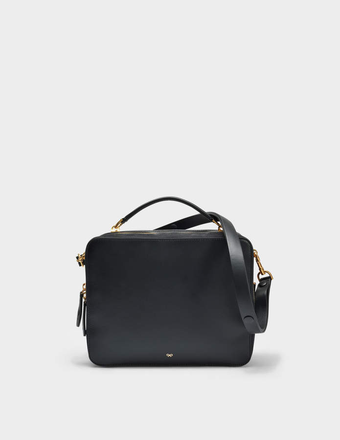 Anya Hindmarch The Stack Double Satchel Bag in Black Circus Leather