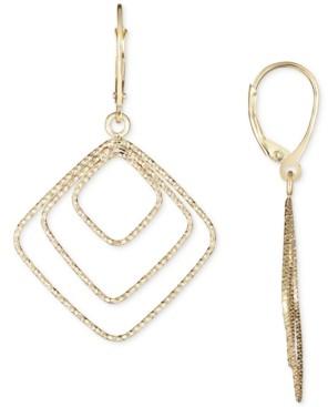 Italian Gold Square Drop Earrings in 14k Gold
