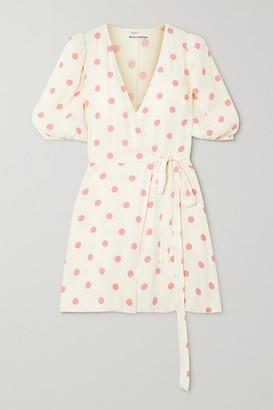 Reformation Olince Polka-dot Crepe Mini Wrap Dress