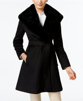 Forecaster Rex Rabbit-Fur-Trim Wrap Coat, Only at Macy's