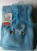 "Fisher-Price Blue EMBROIDERED ZEBRA Fleece Baby Blanket 30"" x 40"" Tall"