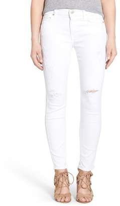 7 For All Mankind Destroyed Ankle Skinny Jeans (Clean White)