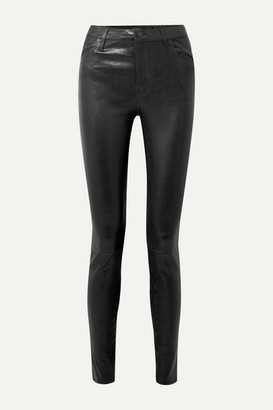 J Brand Maria Leather Skinny Pants - Black