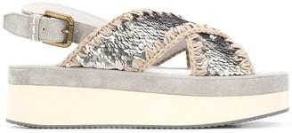 Mou Flatform sequinned sandals
