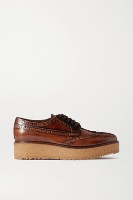 Prada Perforated Glossed-leather Brogues - Brown
