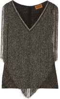 Missoni Fringed Metallic Crochet-knit Top - Gray