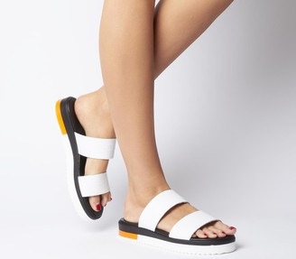 Office Stadium Double Strap Wedged Sandals White Croc Leather