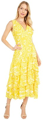 Lauren Ralph Lauren Jabari Sleeveless Day Dress (Summer Lemon/Cream/Multi) Women's Dress