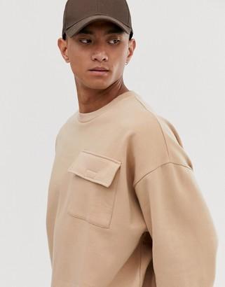 BEIGE Asos Design ASOS DESIGN oversized sweatshirt with utility chest pocket in