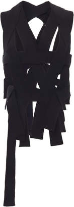 Ann Demeulemeester Draped Ribbed-Knit Buckled Top