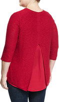 Vince Camuto Split-Back Chiffon-Panel Tunic, Crimson, Plus Size