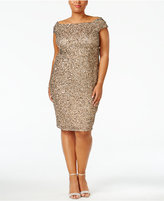 Adrianna Papell Plus Size Off-The-Shoulder Sequined Dress