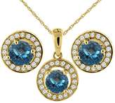 Sabrina Silver 14K Yellow Gold Natural London Topaz Earrings and Pendant Set with Diamond Halo Round 5 mm