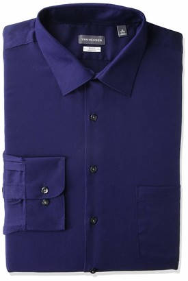 Van Heusen Men's FIT Dress Shirts Lux Sateen Stretch Solid (Big and Tall)