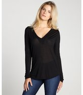 LnA black semi-sheer 'Mesa' long sleeve knit top