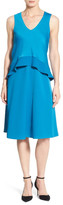 Ellen Tracy Popover Bodice Crepe V-Neck Dress