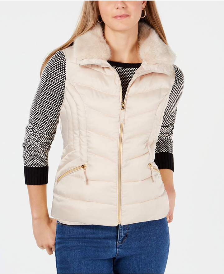 Petite Faux-Fur-Collar Puffer Vest