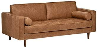 Mid-Century MODERN Rivet Aiden Tufted Leather Bench Loveseat Couch Sofa