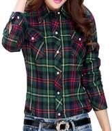 OCHENTA Women's Thicken Lining Classic Plaid Winter Warm Shirt Asian XL - US M