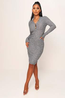 I SAW IT FIRST Grey Ribbed Button Front Bodycon Midi Dress