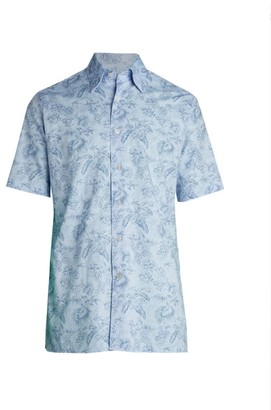 Canali Hawaiian Flowers Short-Sleeve Shirt