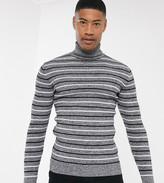 Asos Design ASOS DESIGN Tall muscle fit roll neck jumper with stripe in black and white twist