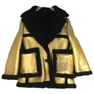 Prada Gold Leather Leather Jacket for Women