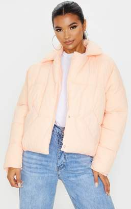 PrettyLittleThing Stone Peached Oversized Cropped Puffer