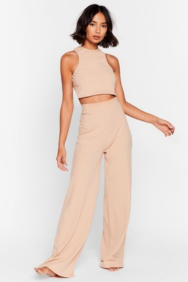 Nasty Gal Womens Racerback to Bed Ribbed Wide-Leg Trousers Lounge Set - Beige - 4