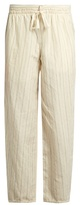 Loewe Drawstring-waist striped cotton-blend trousers