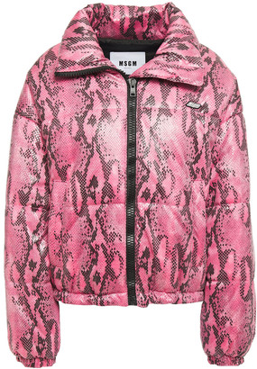 MSGM Quilted Faux Snake-effect Leather Jacket