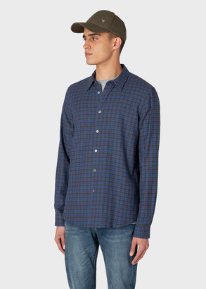 Paul Smith Men's Tailored-Fit Cobalt Blue And Orange Check Lyocell Shirt