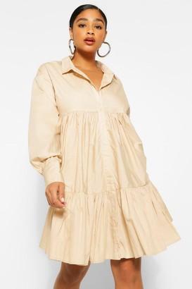 boohoo Plus Smock Tiered Shirt Dress