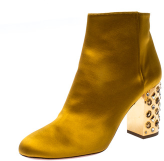 Aquazzura Yellow Satin Party Embellished Heel Ankle Booties Size 36.5