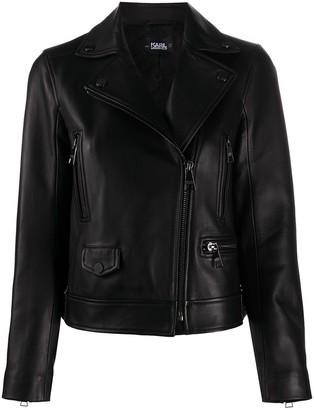 Karl Lagerfeld Paris Off-Centre Zipped Biker Jacket