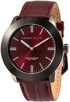 Perry Ellis Slim Line Burgundy Leather Watch