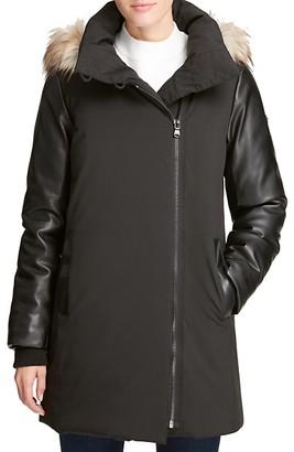 DKNY Faux-Fur Trim Coat