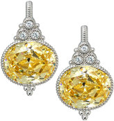Judith Ripka La Petite Oval Canary Crystal & Sapphire Drop Earrings