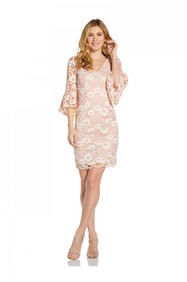 Adrianna Papell Bell Sleeve Lace Sheath Dress