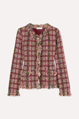 Etro Frayed Metallic Cotton-blend Tweed Jacket - Pink