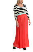 Celeste Pink & Black Stripe Maxi Dress - Plus